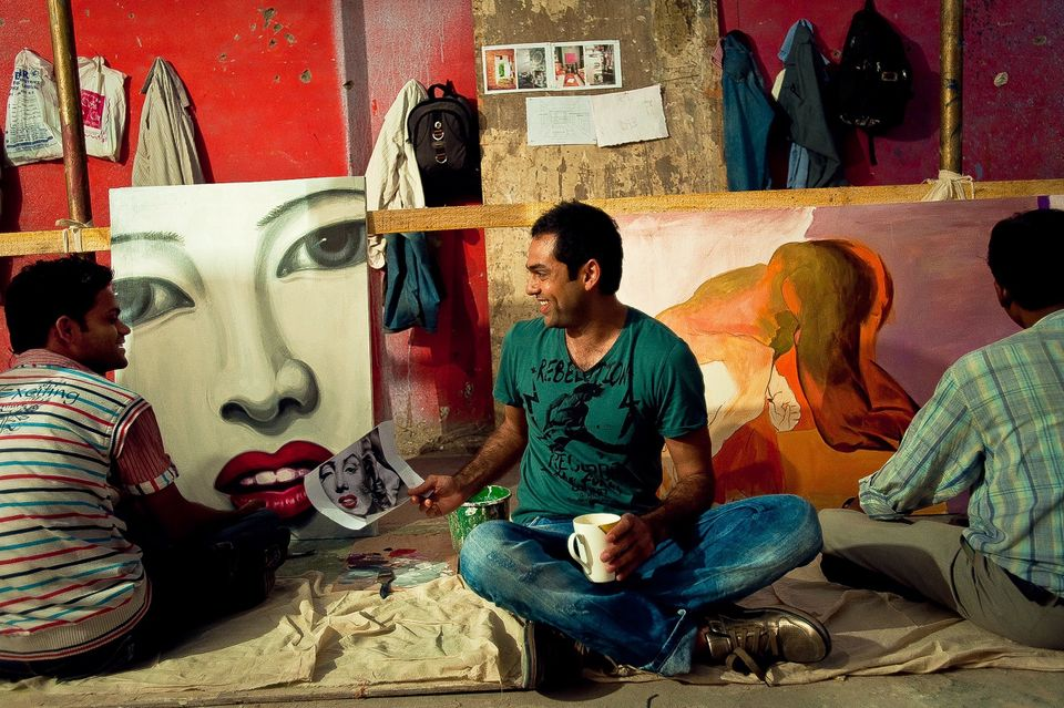 Abhay Deol during chai break at a promo shoot in
