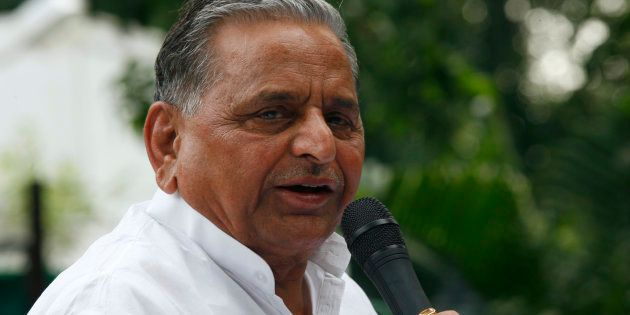 Chief of Samajwadi Party Mulayam Singh Yadav speaks during a news conference in New