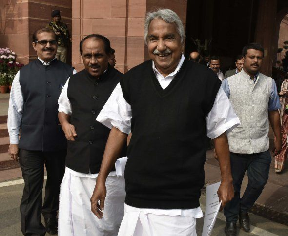 Kerala Chief Minister Oommen Chandy during the winter session of Parliament, on December 11, 2015 in...