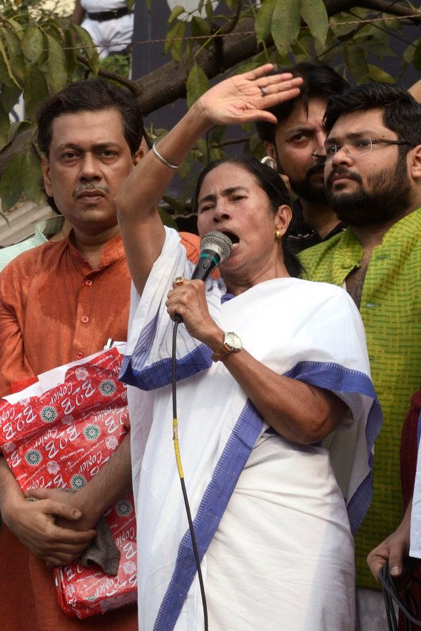 Chief Minister Mamata Banerjee gives speech to her activist against Narendra Modi lead government during...