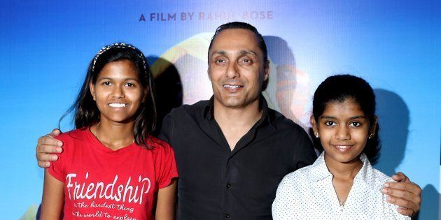 Indian mountaineer Poorna Malavath (L) and actress Aditi Inamdar (R) attend the screening of upcoming...