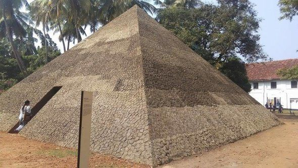 The Pyramid of Exiles installation at Aspinwall House, Fort Kochi