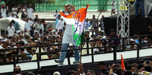 Congress party vice president Rahul Gandhi interacts with party supporters during a rally in Lucknow...