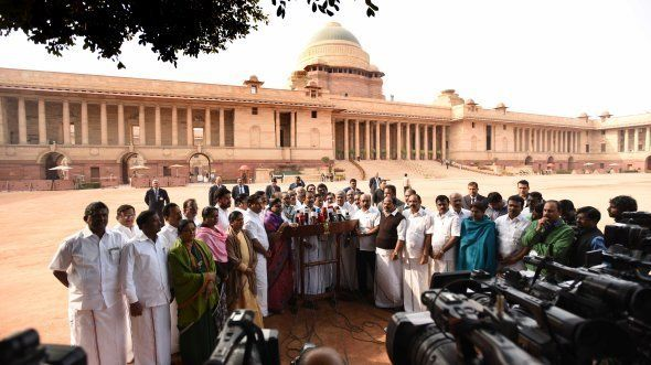 AIADMK MPs after meeting with President Pranab Mukherjee on the Jallikattu issue to seek an ordinance...