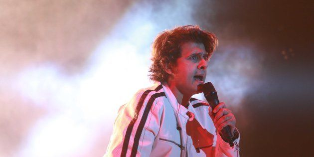 Bollywood singer Sonu Nigam performs during the finale of Ramjas College's Centennial celebrations.