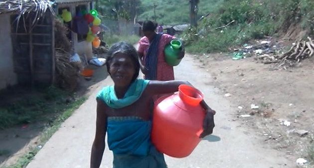 Women have to travel for 1 km to fetch water