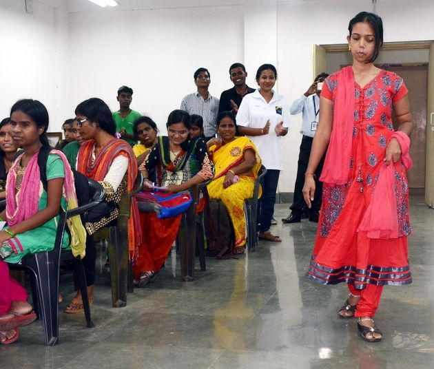 Jhumri Biswal, one of the finalists of the Miss India Contest for the Visually Impaired,