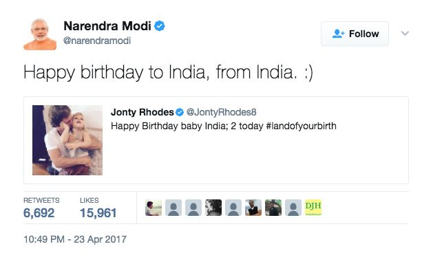 Narendra Modi Has A Special Birthday Wish For Jonty Rhodes' Daughter