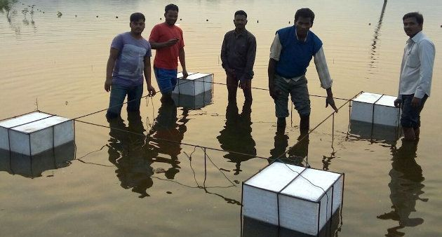 A fish cage constructed by the local community in