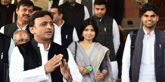 Uttar Pradesh Chief Minister Akhilesh Yadav with his wife Dimple Yadav and other state MPs during the...