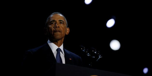 U.S. President Barack Obama delivers his farewell address in Chicago, Illinois on January 10,