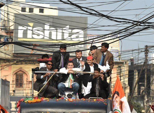 Lucknow : Uttar Pradesh Chief Minister and Samajwadi Party President Akhilesh Yadav and Congress Vice...