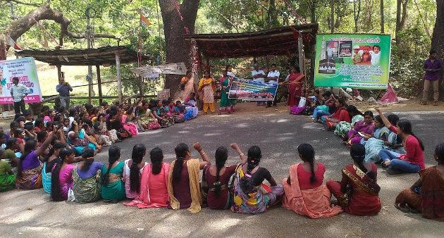 Women of Attappadi at a sit-in protest against