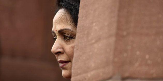 BJP MP Hema Malini at Parliament during the Budget