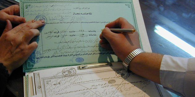 Certificates of temporary marriage (Sigheh or Nikah mut'ah) filed in a registry office run by a clergyman...