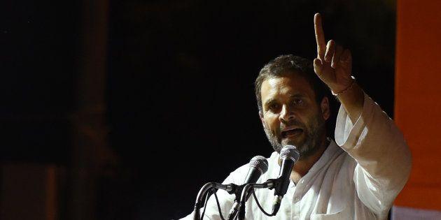 NEW DELHI, INDIA - OCTOBER 6: Congress Vice President Rahul Gandhi addresses farmers at Jantar Mantar,...