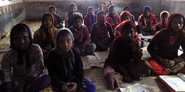 Musahar children studying in a government primary school at Kurkuri