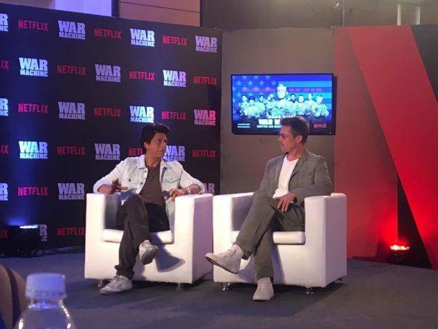 Brad Pitt speaking to Shah Rukh Khan in Mumbai on 24 May,