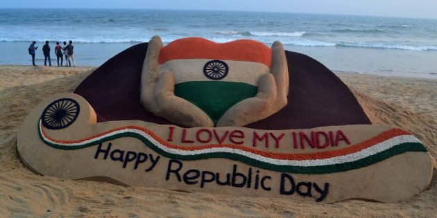 A sand sculpture is seen, creating by Indian sand artist Sudarshan Pattnaik on the eve of Republic Day...