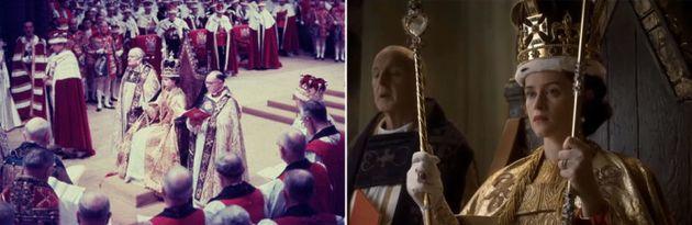 Art imitating life: an image of Queen Elizabeth's coronation alongside the Netflix