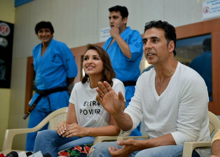 MUMBAI, INDIA MAY 19: Akshay Kumar & Parineeti Chopra during the graduation day ceremony of the self-defense academy for women in Mumbai.(Photo by Milind Shelte/India Today Group/Getty Images)