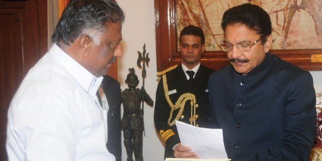 O. Panneerselvam meets Tamil Nadu Governor C Vidyasagar Rao on 9 February,