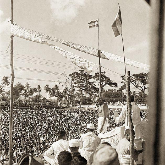 Mahatma Gandhi at a mass meeting, Bengal,