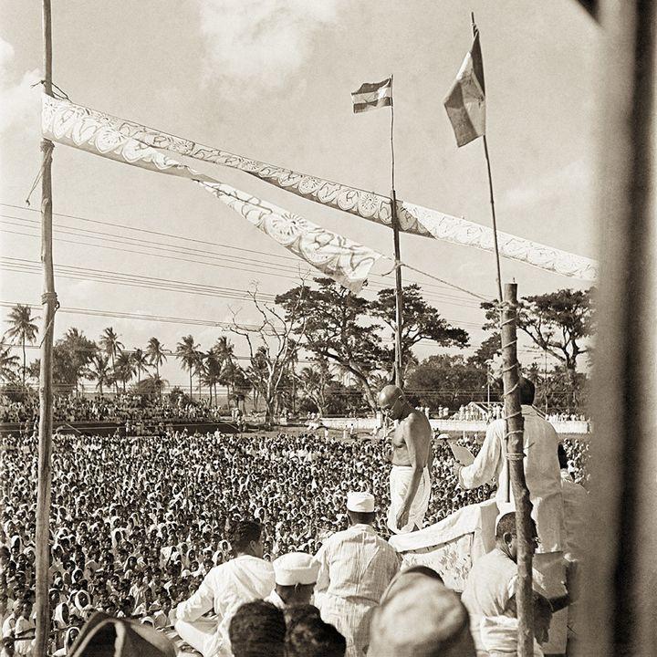 Mahatma Gandhi at a mass meeting, Bengal, 1945.