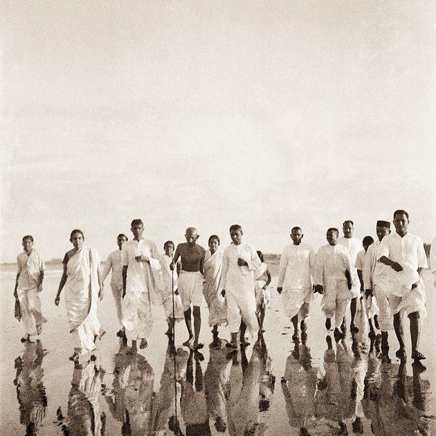 Mahatma Gandhi at Juhu beach, Bombay, June