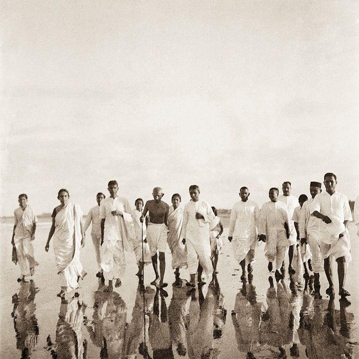 Mahatma Gandhi at Juhu beach, Bombay, June 1944.