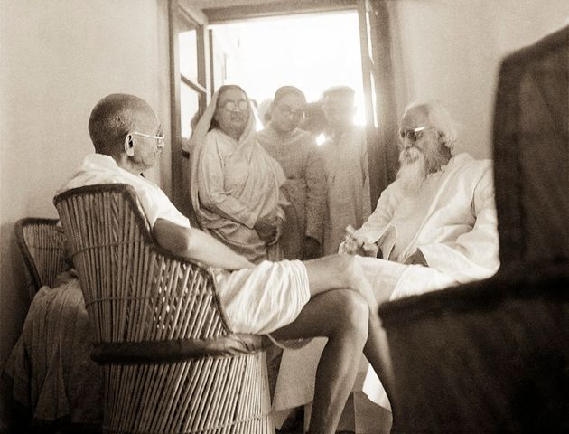 Mahatma Gandhi and Rabindranath Tagore at Shantiniketan, Bengal, February