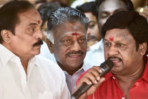 Chennai: Tamil Nadu Chief Minister O Panneerselvam with actor Thiyagu and actor-director Ramarajan addressing...