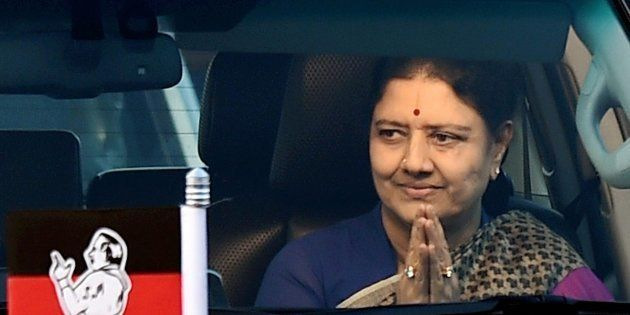 AIADMK General Secretary VK Sasikala arrives at the resort on third consecutive day in Koovathur in East...