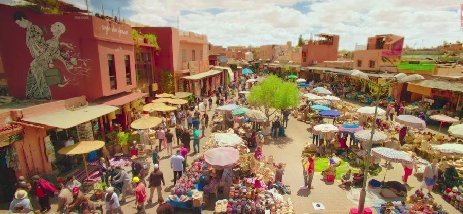 The market area in Morocco, which turned out to be the most challenging place to shoot in