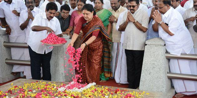 All India Anna Dravida Munnetra Kazhagam (AIADMK) leader VK Sasikala pays her respects at the memorial...