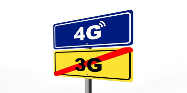 end of 3g mobile internet area, starting 4g mobile internet are shown with road