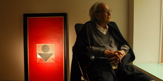 INDIA - FEBRUARY 09:  Sayed Haider Raza, Painter in New Delhi, India ( Sayed Haider Raza turned 85 last week )  (Photo by Bandeep Singh/The India Today Group/Getty Images)