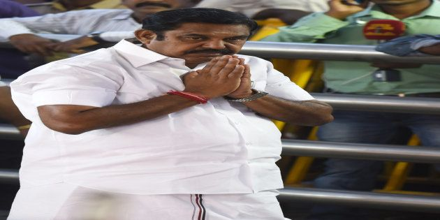 All India Anna Dravida Munnetra Kazhagam (AIADMK) party leader Edappadi Palanisamy gestures as he pays...