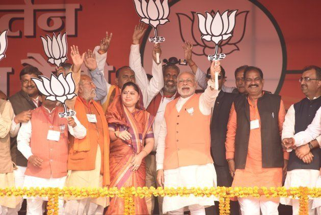 Prime Minister Narendra Modi addressing an election campaign rally at Barabanki on February 16, 2017...