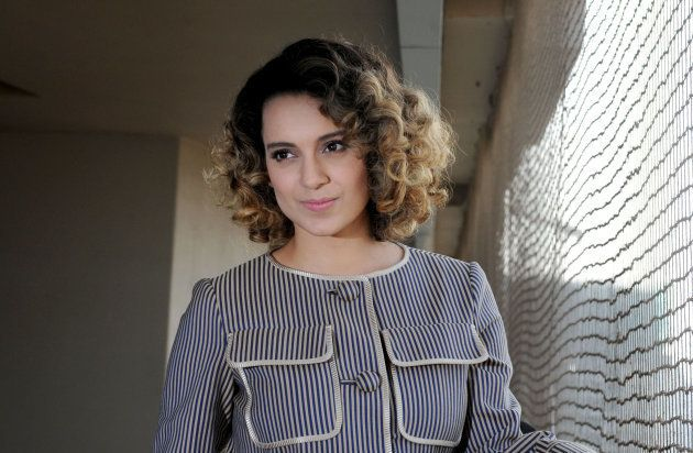 Indian Bollywood actress Kangana Ranaut poses during a promotional event for the forthcoming Hindi film...