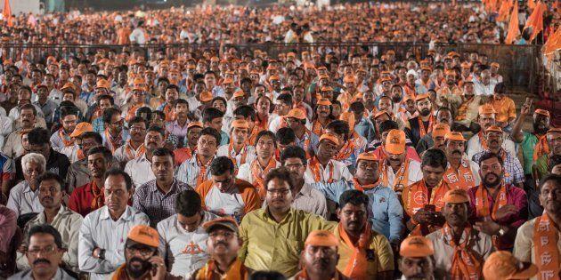 MUMBAI, INDIA - FEBRUARY 18: Shiv Sena supporters during an election rally of Uddhav Thackeray for the...