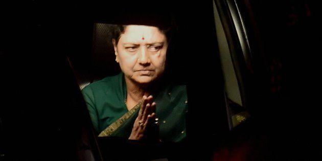 Chennai: AIADMK General Secretary VK Sasikala leaves from Koovathur Resort to Poes Garden at Koovathur,...
