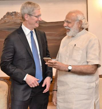 Apple CEO Tim Cook with Prime Minister Narendra