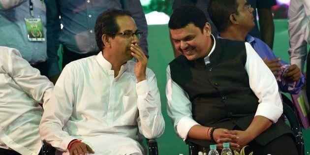 File photo of Maharashtra chief minister Devendra Fadnavis (R) and Shiv Sena chief Uddhav