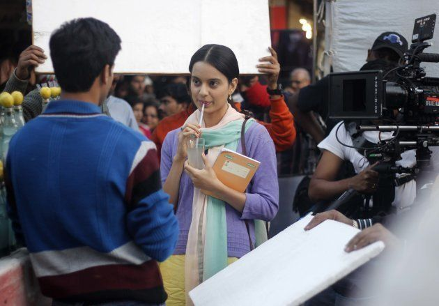 Actress Kangna Ranaut shooting for her upcoming movie Queen at Lajpat Nagar, Central Market, on December...