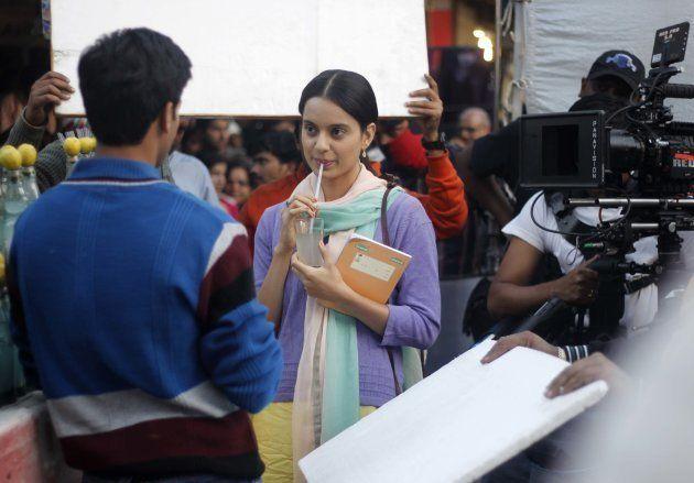 Actress Kangna Ranaut shooting for her upcoming movie Queen at Lajpat Nagar, Central Market, on December 19, 2012 in New Delhi, India.