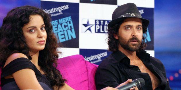 Indian actors Kangana Ranaut and Hrithik Roshan