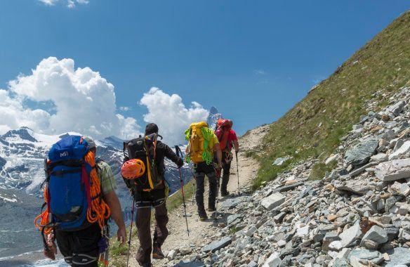 Climbers trekking to the