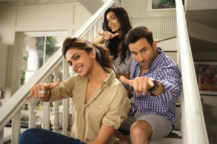 Diana Penty, Deepika Padukone, and Saif Ali Khan in a still from 'Cocktail.'