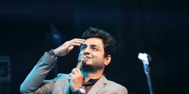 Indian stand up comedian Kenneth Sebastian performs during a Lady Shri Ram College (LSR) for Women's...